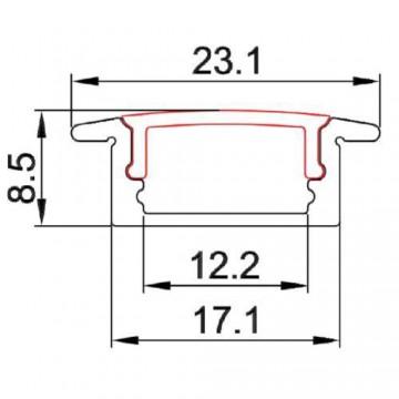 CONTEST TAPEprofil-A, barra aluminio 2 m, 9x17mm