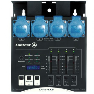 CONTEST DIM-4X5 - Dimmer de 4 canales DMX 4x5A mediante faders lineal