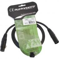 Audiophony Cable DMX CDMX-1, 1 metro - XLR macho3 pin y hembra 3 pin conectores negros