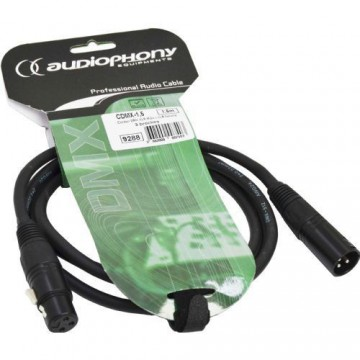 Audiophony Cable DMX CDMX-1,5 longitud 1,5m XLRmacho 3 pin y hembra 3 pin, conectores n