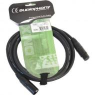 Audiophony CDMX-3 Cable DMX XLR macho 3 pin y hembra 3 pin de 3 m conectores negros