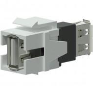 PROCAB Conector USB 2.0 A - USB 2.0 A Blanco Keystone