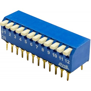 MICRO SWITCH 12 DIP color azul para PCB 90º