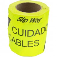 """Cinta SLIPWAY de tela. Rollo de 145 mm x 30 m. Texto impreso """"Cuidado Cables"""""""