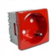 Schuko 16A (45 x 45 mm) Rojo para cajas con carril